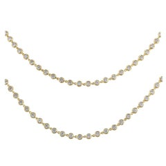 Adler Yellow Gold Diamond Line Necklace 17.20 Carat