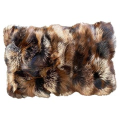 Contemporary Fox fur Pillow in Brown Shades
