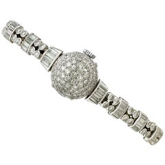 Admina Ladies Platinum Diamond Manual Wind Wristwatch
