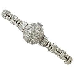 Admina Ladies Platinum Diamond Manual Wind Wristwatch