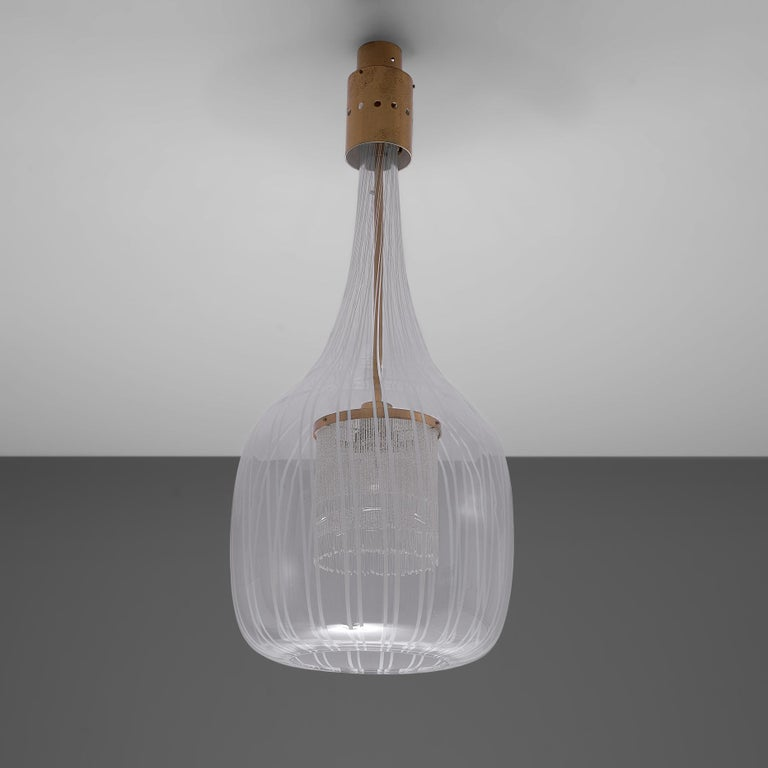 Brass Admirable Angelo Brotto Pendant in Murano Glass For Sale