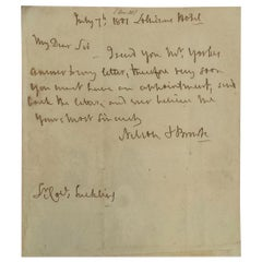 Admiral Horatio Lord Nelson Antique 1801 Handwritten Signed Paper Note
