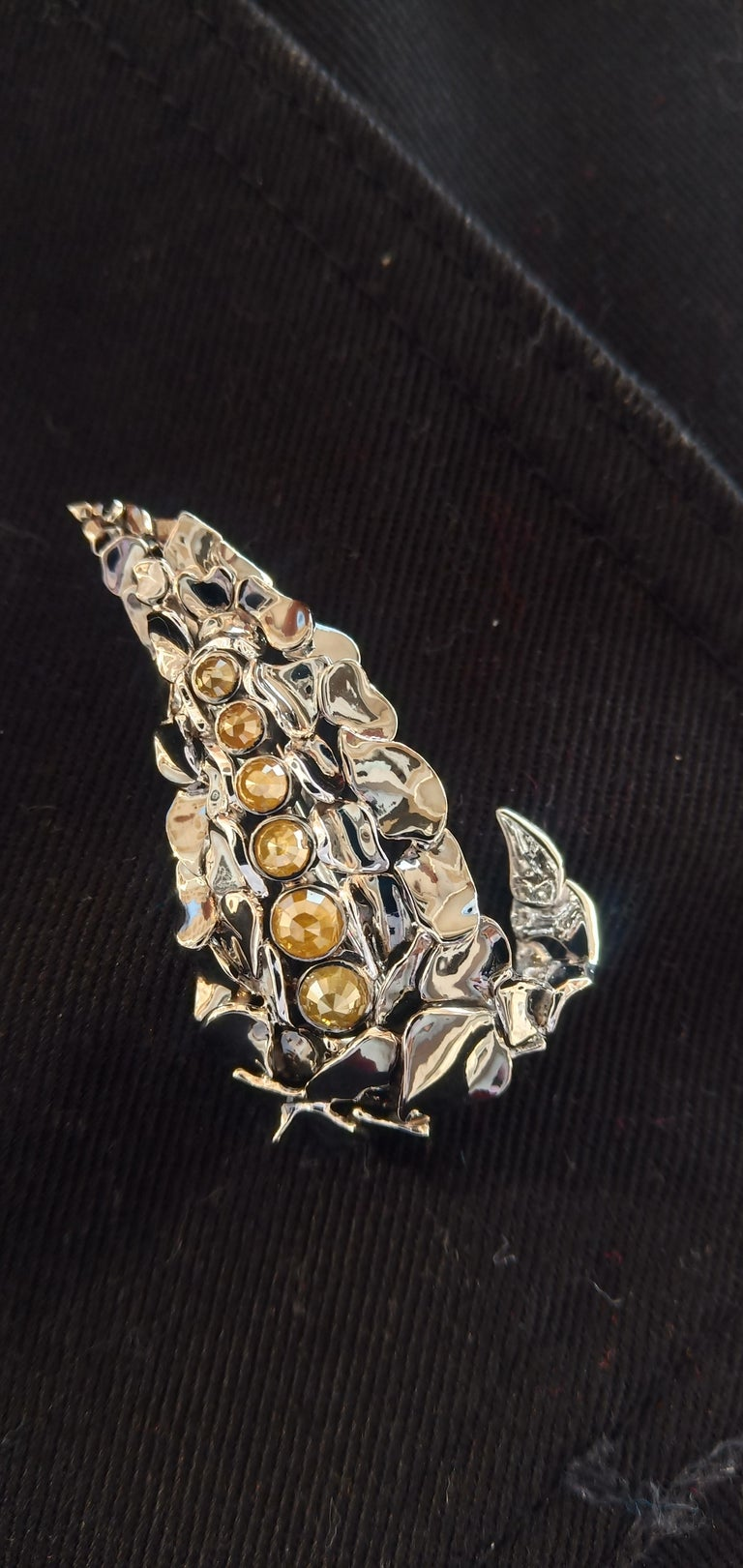 Admiration Comes Naturally with Contemporary Yellow Rose Cut Diamond Gold Brooch For Sale 7