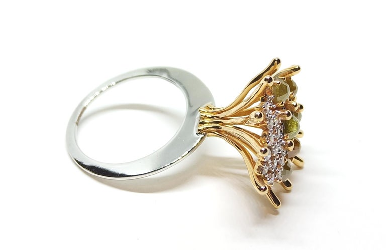 Round Cut Admiration Comes Naturally with Contemporary Yellow and White Diamond Gold Ring For Sale