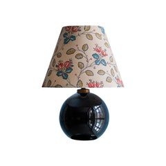Adnet Art Deco Black Opaline Ball Table Lamp with Customised Lampshade, 1930s