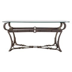 Adnet Hermes Style Faux Leather Equestrian Cocktail Table