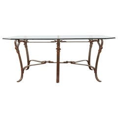 Adnet Hermes Style Faux Leather Iron Strap Cocktail Table