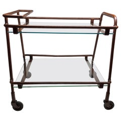 Adnet Leather Bar Cart