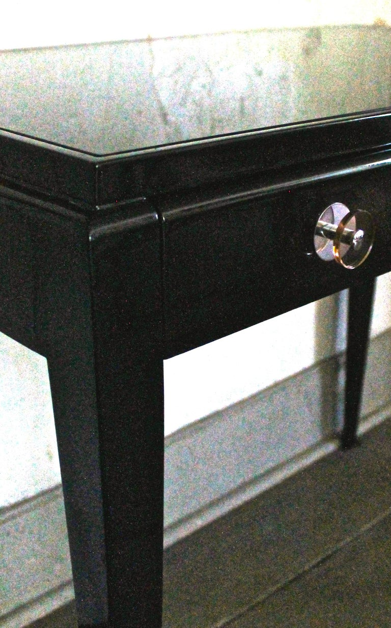 French Adnet Style Art Deco Black Lacquer Desk