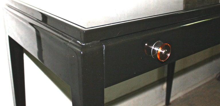 Lacquered Adnet Style Art Deco Black Lacquer Desk