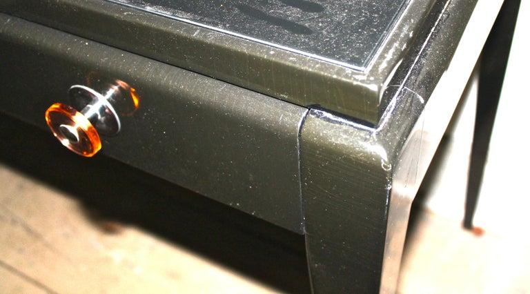Adnet Style Art Deco Black Lacquer Desk In Good Condition In Sharon, CT