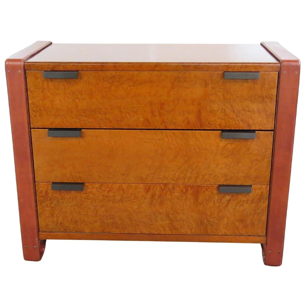 Adnet-Style Burled Walnut Chest of Drawers with Leather Trim