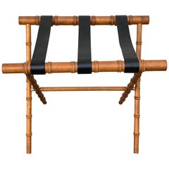 Adnet Style Faux Bamboo Luggage Rack