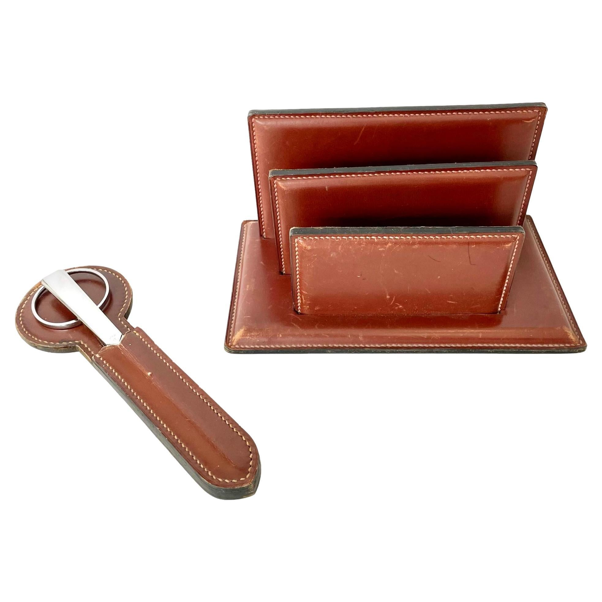 Adnet Style French Leather Desk Set