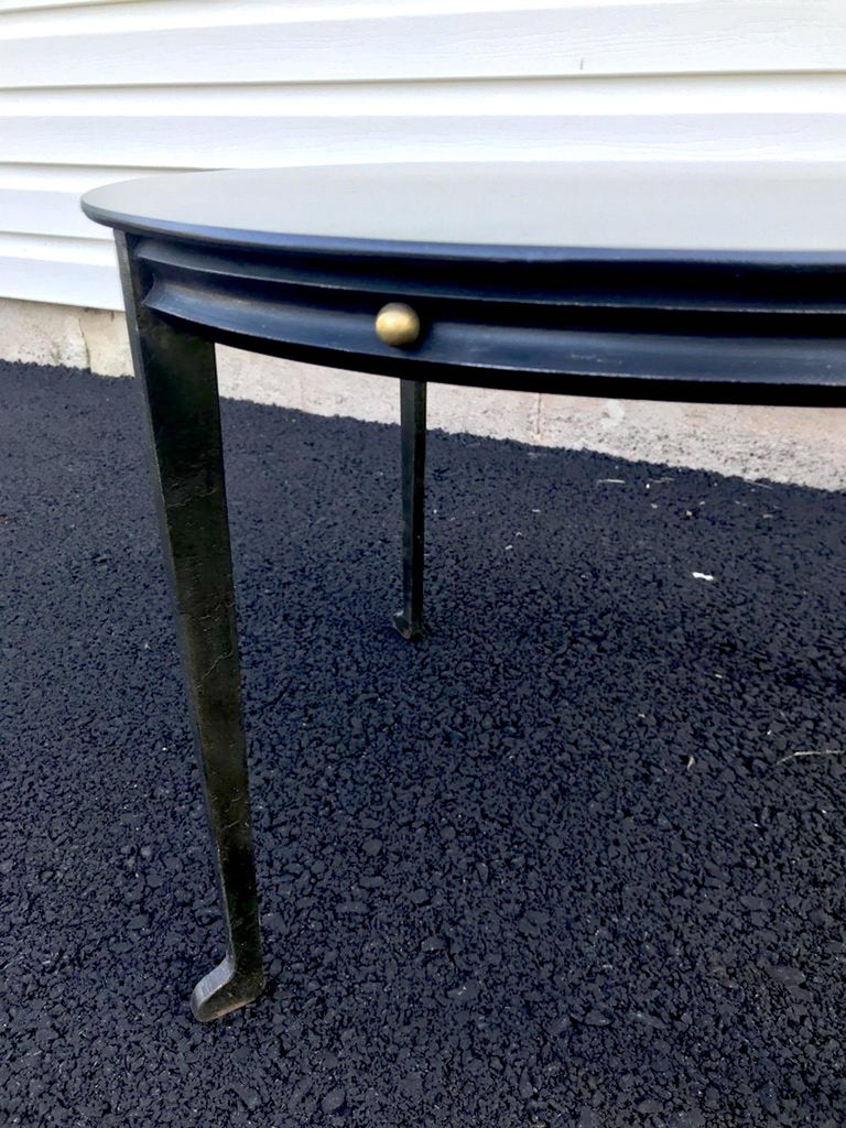 Modern Adnet Style Iron and Brass Low Table For Sale