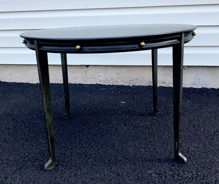 Adnet Style Iron and Brass Low Table For Sale 2