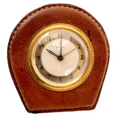 Adnet Style Leather Alarm Clock by Bayard