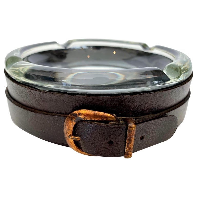 Adnet Style Leather and Glass Ashtray / Catchall For Sale