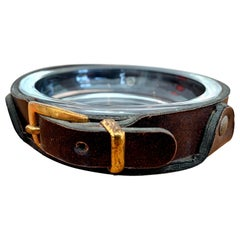 Adnet Style Leather and Glass Ashtray / Catchall