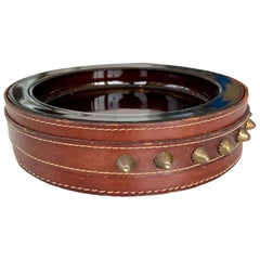 Adnet Style Leather and Glass Ashtray or Catchall