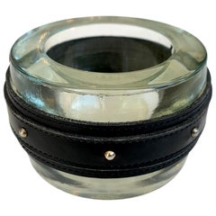 Adnet Style Leather and Glass Studded Ashtray