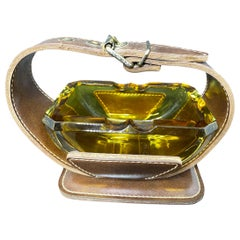 Adnet Style Leatherette and Glass Ashtray Catchall Vintage