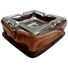 Adnet Style Rouched Leather and Glass Ashtray