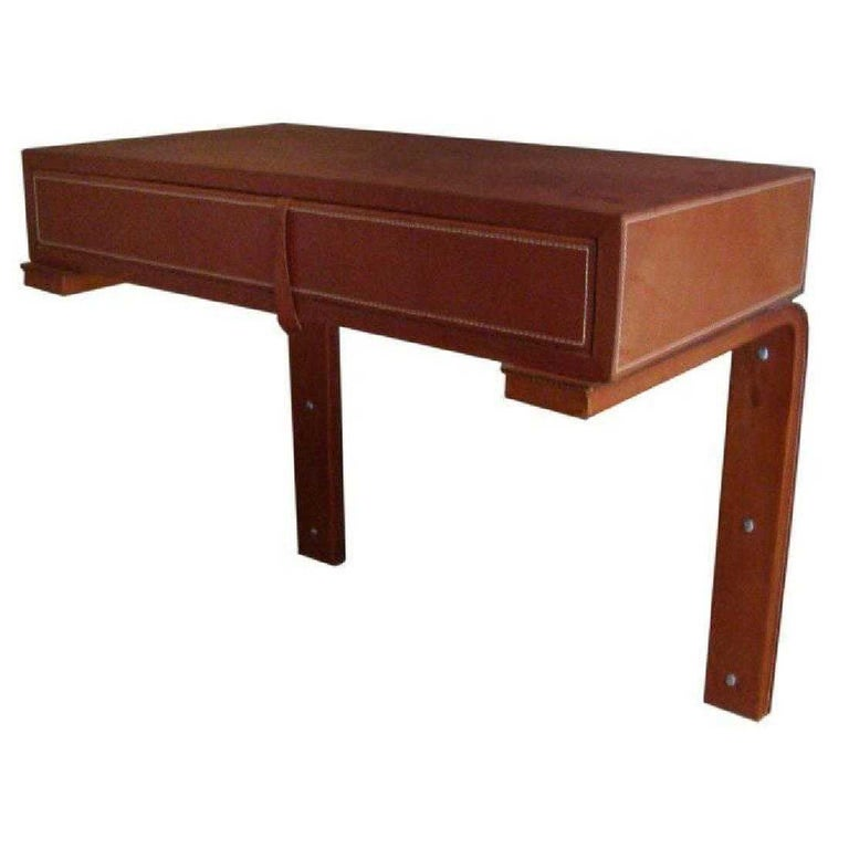 Adnet Style Saddle Stitched Leather Cantilevered Wall Console For Sale 9