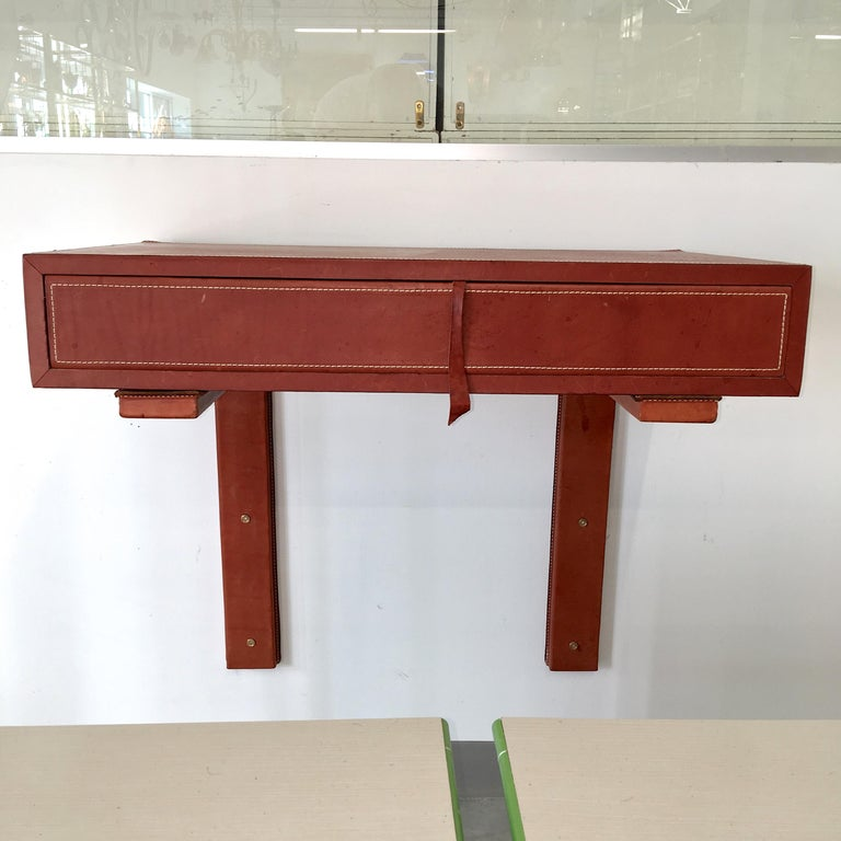 Adnet Style Saddle Stitched Leather Cantilevered Wall Console For Sale 2