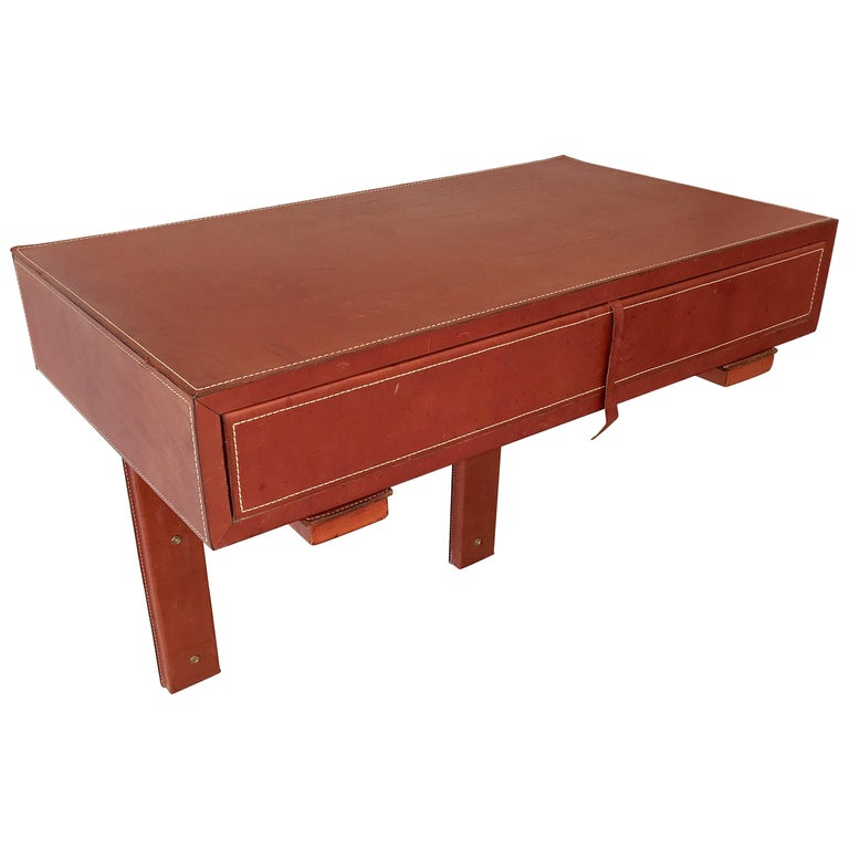 Adnet Style Saddle Stitched Leather Cantilevered Wall Console For Sale