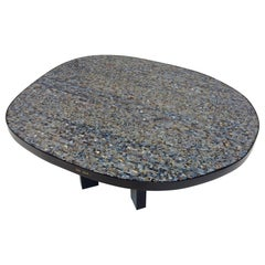 Ado Chale Signed Freeform Mosaic of Chalcedony Agate Coffee Table