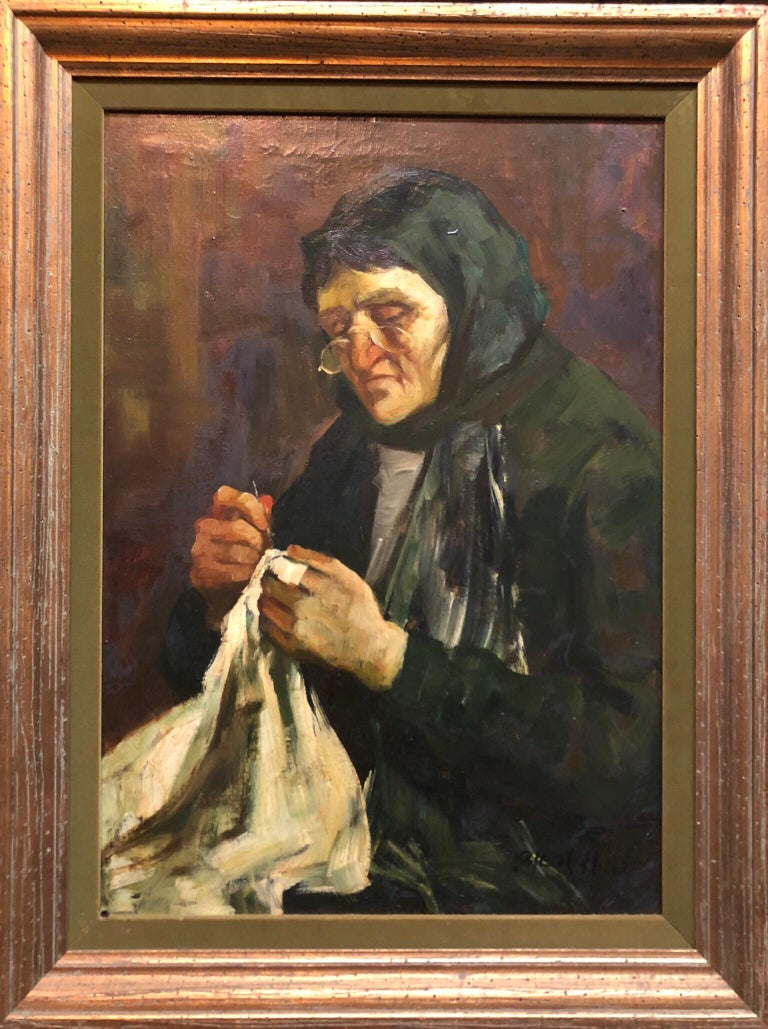 Israeli Judaica Old Jewish Woman Sewing Expressionist Oil Painting - Black Figurative Painting by Adolf Adler