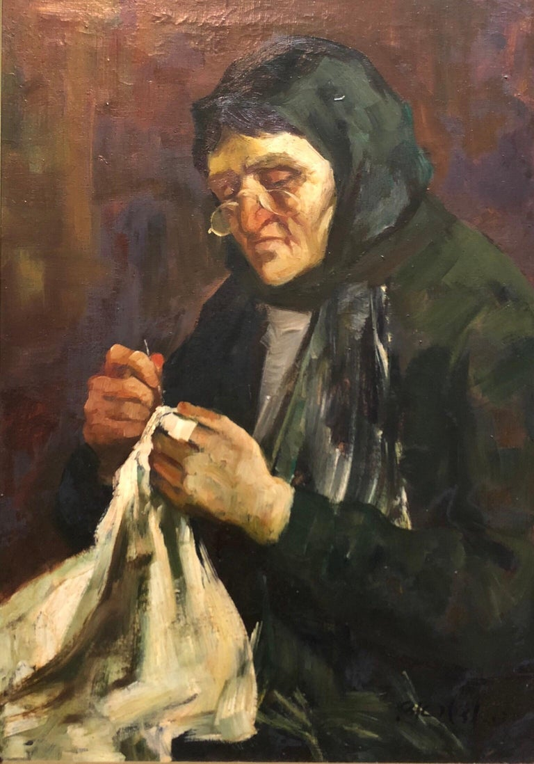 Adolf Adler Figurative Painting - Israeli Judaica Old Jewish Woman Sewing Expressionist Oil Painting