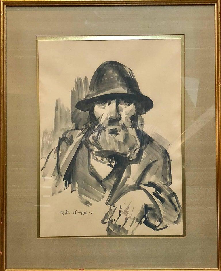 Israeli Judaica Rabbi Expressionist Gouachel Painting - Beige Figurative Painting by Adolf Adler