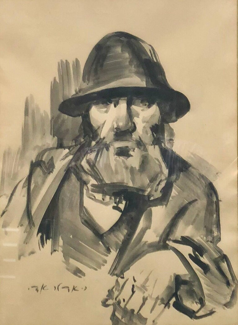 Adolf Adler Figurative Painting - Israeli Judaica Rabbi Expressionist Gouachel Painting