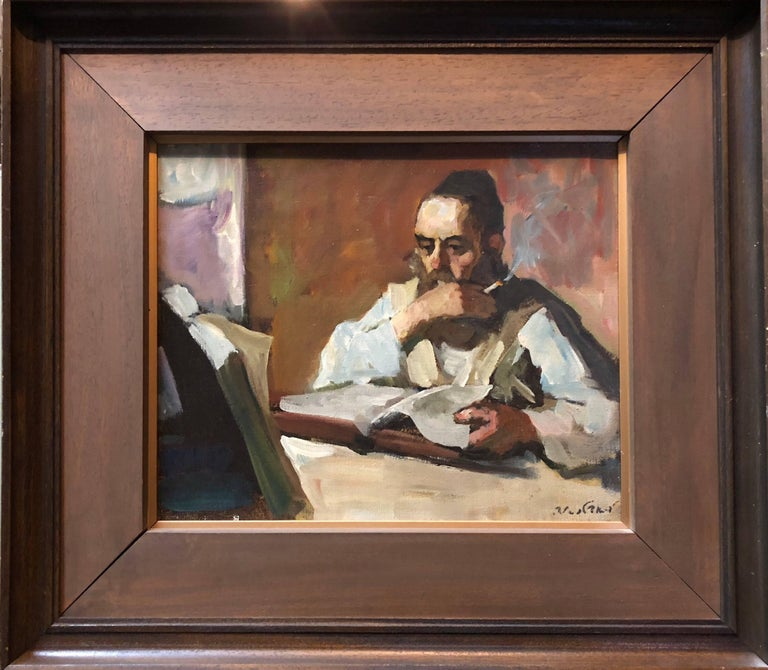 Israeli Judaica Rabbi Studying Expressionist Oil Painting - Brown Figurative Painting by Adolf Adler