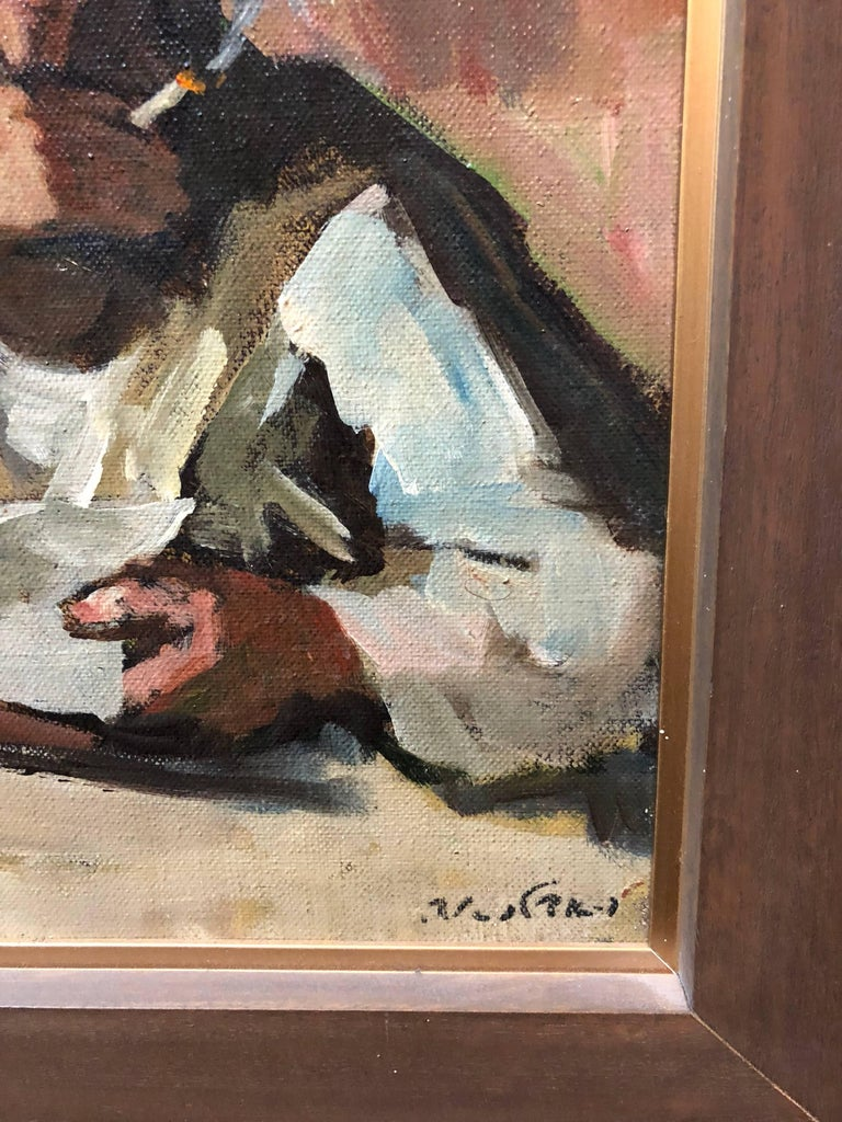 Israeli Judaica Rabbi Studying Expressionist Oil Painting For Sale 1