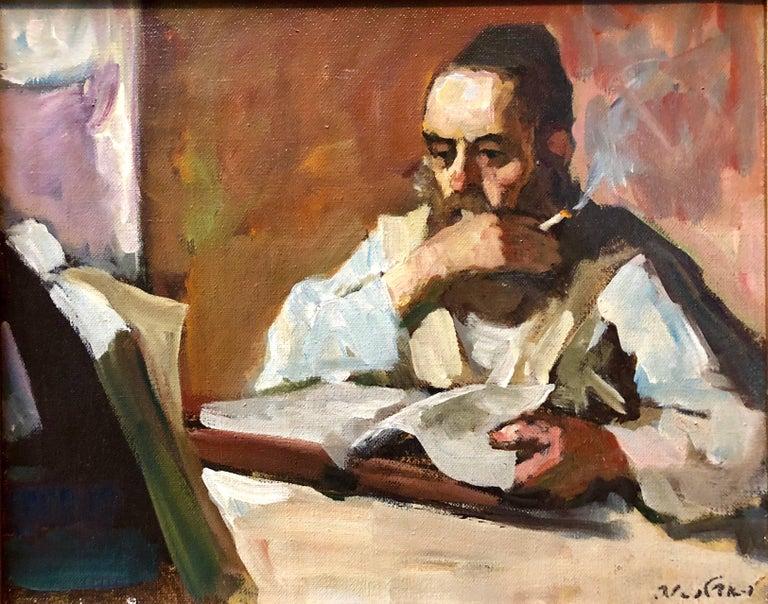 Adolf Adler Figurative Painting - Israeli Judaica Rabbi Studying Expressionist Oil Painting