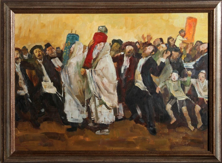 Adolf Adler Figurative Painting - Parading the Torah