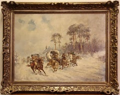 Adolf Constantin Baumgartner-Stoiloff, Winter Landscape, Russian Riders, Cossack