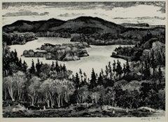 """Peaceful Cove - New England,"" Original Lithograph signed by Adolf Dehn"