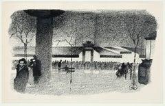 Quartier Latin - Original Lithograph by A. Hallman - 1930s