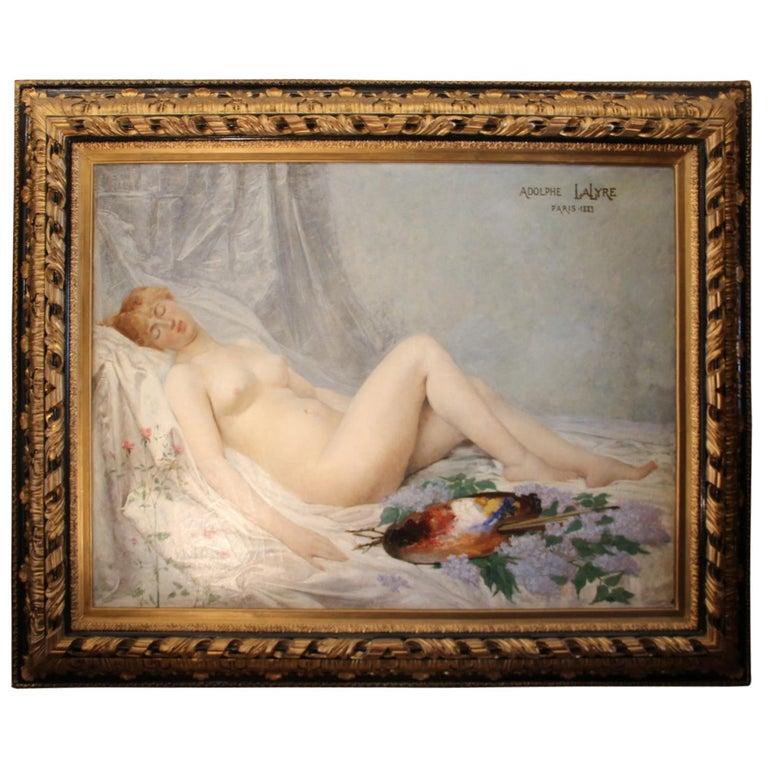 "Adolf La Lyre, ""Model in the Artist's Studio"", Oil on Canvas For Sale"