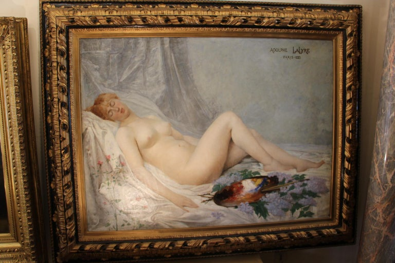 Artist: Adolf La Lyre 1848 1935 Nue à La Palette / Dans L'atelier De L'artiste. Very delicate painting, full of charm and in a unusual dimension. Indeed, without frame the canvas measures 1 meter high and 130 cm wide. Signature on top