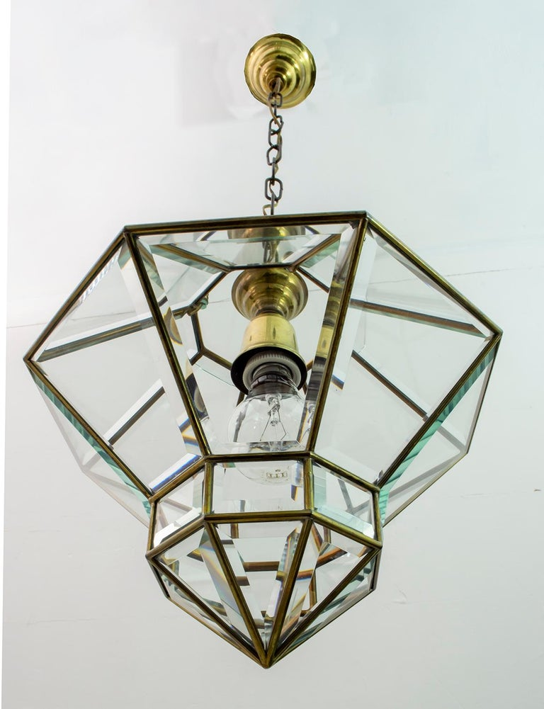 Austrian Adolf Loos Art Nouveau Brass and Beveled Glass Pendant Light for Knize, 1905 For Sale