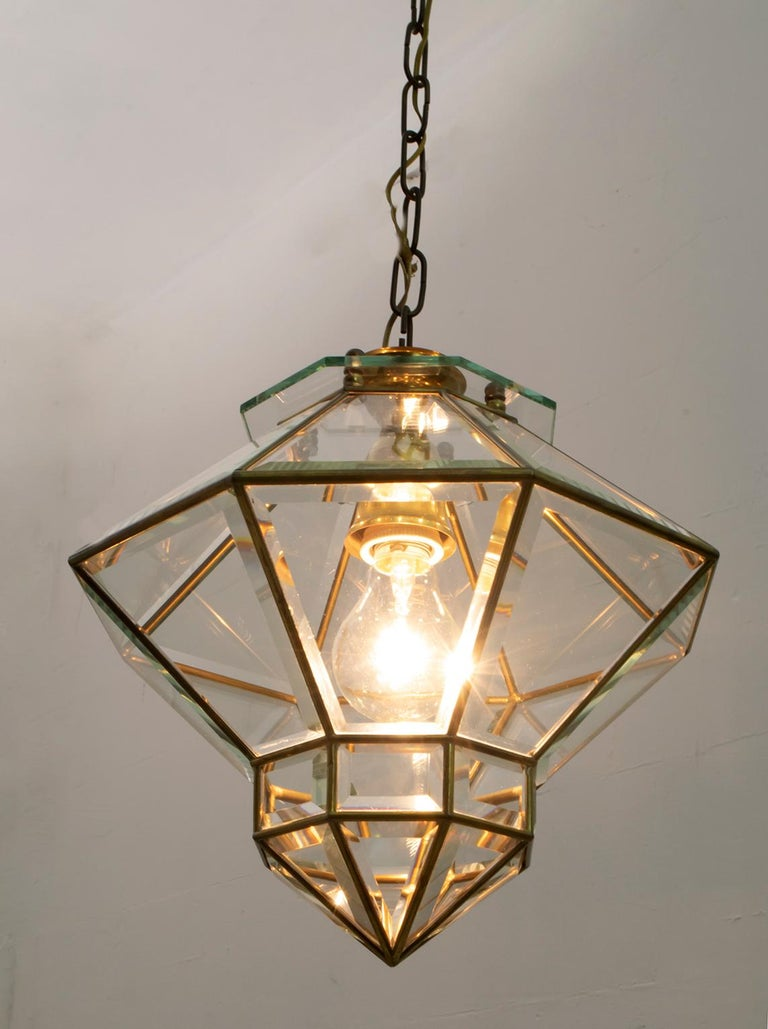 Early 20th Century Adolf Loos Art Nouveau Brass and Beveled Glass Pendant Light for Knize, 1905 For Sale