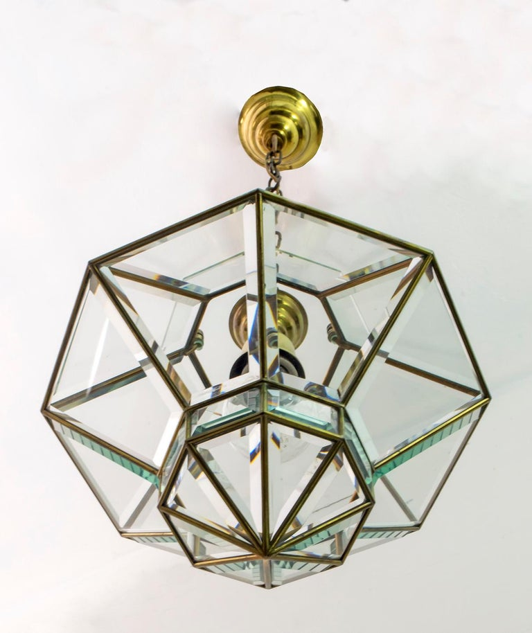 Adolf Loos Art Nouveau Brass and Beveled Glass Pendant Light for Knize, 1905 For Sale 2