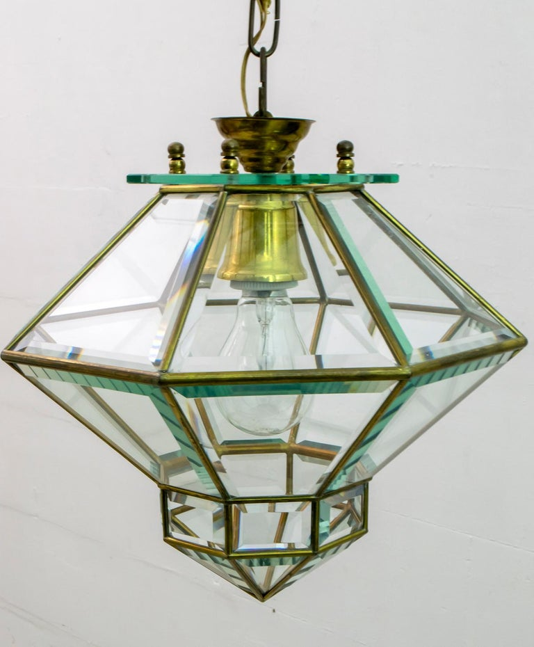 Adolf Loos Art Nouveau Brass and Beveled Glass Pendant Light for Knize, 1905 For Sale 3
