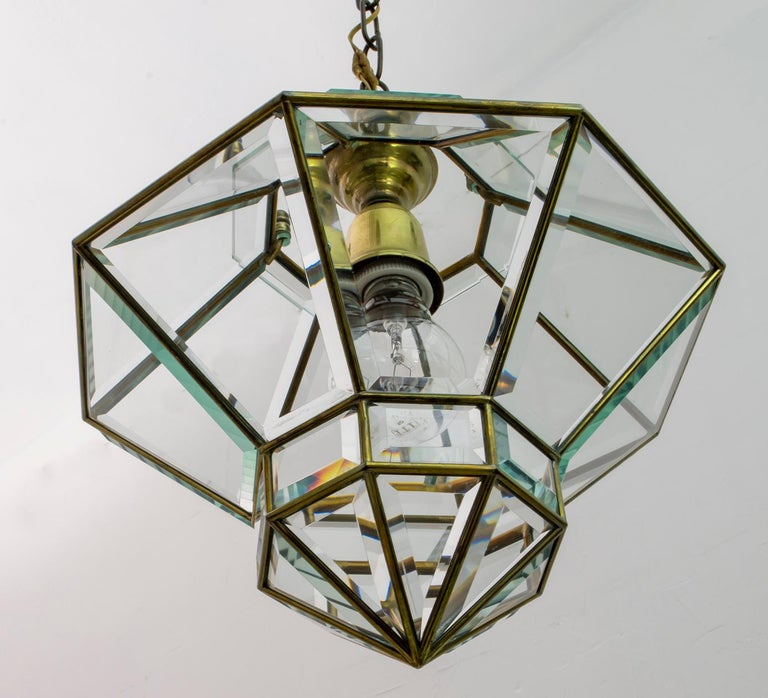 Adolf Loos Art Nouveau Brass and Beveled Glass Pendant Light for Knize, 1905 For Sale 4