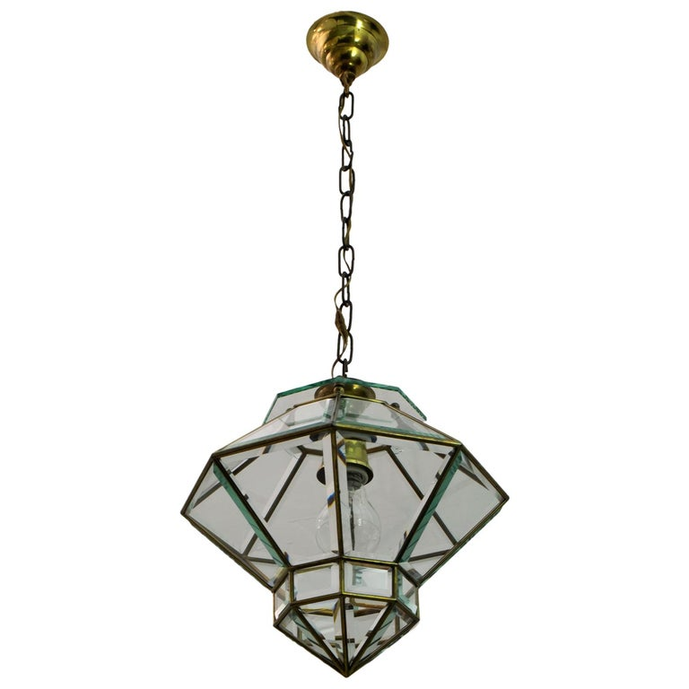 Adolf Loos Art Nouveau Brass and Beveled Glass Pendant Light for Knize, 1905 For Sale